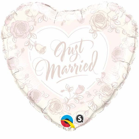 "18"" Heart Foil Just Married Roses #31082 - Each (Pkgd.)"