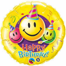 "09"" Round Foil Birthday Smiley Faces #31125 - Each (Unpkgd.)"