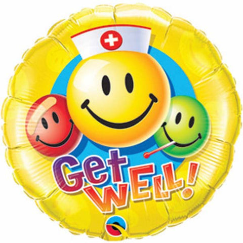 "09"" Round Get Well Smiley Faces #31127 - Each (Unpkgd.)"