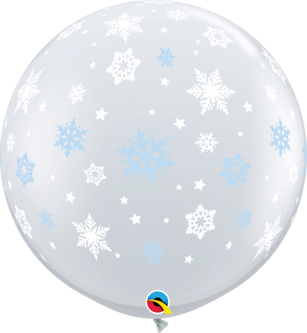 3ft Round Diamond Clear Winter Snowflakes #31307 - Pack of 2