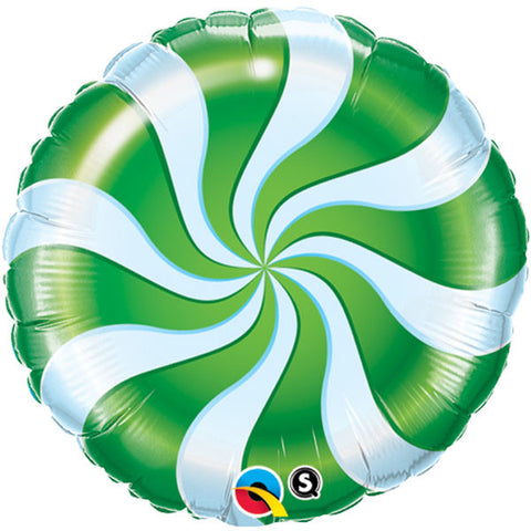 "18"" Round Foil Candy Swirl Green #64333 - Each (Pkgd.)"