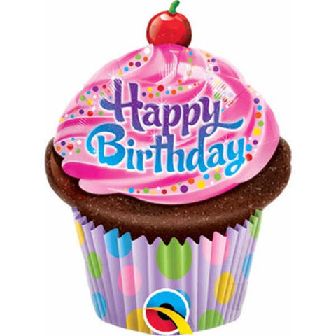 "14"" Shape Birthday Frosted Cupcake #32935 - Each (Unpkgd.)"