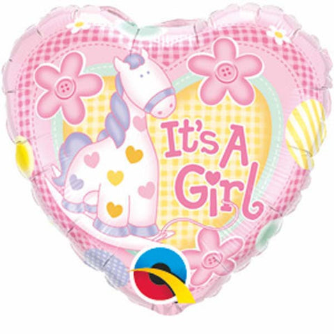 "09"" Heart It's A Girl Soft Pony #32945 - Each (Unpkgd.)"