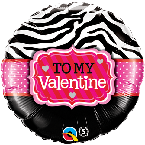 "18"" Round Foil To My Valentine Zebra Stripes #34079 - Each (Pkgd.)"