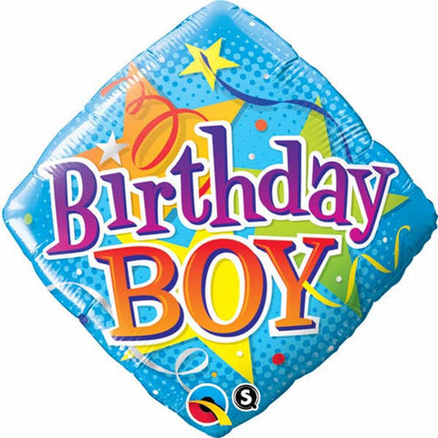 "18"" Diamond Foil Birthday Boy Stars #34434 - Each (Pkgd.)"
