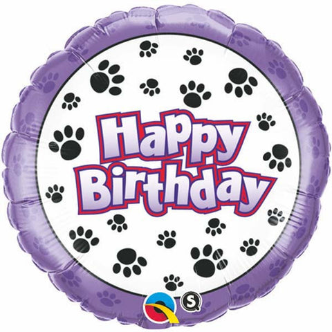 "18"" Round Foil Birthday Paw Prints #35443 - Each (Pkgd.)"