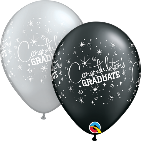 "11"" Round Black & Silver Congratulations Graduate Wrap #35461 - Pack of 50"