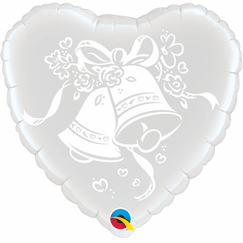 "18"" Heart Foil Wedding Bells #63786 - Each (Pkgd.)"