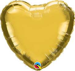 "04"" Heart Foil Metallic Gold Plain Foil #36336 - Each (Unpkgd.)"