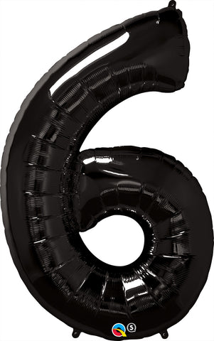 "42"" Number Foil Number Six Onyx Black #36349 - Each (Pkgd.)"