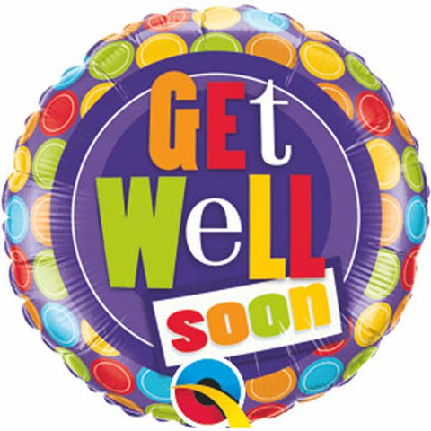 "09"" Round Get Well Dot Patterns #36483 - Each (Unpkgd.)"