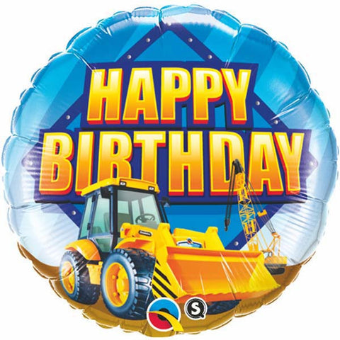 "18"" Round Foil Birthday Construction Zone #36487 - Each (Pkgd.)"