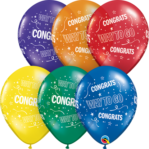 "11"" Round Special Assorted Way To Go Congrats #37151 - Pack of 50"