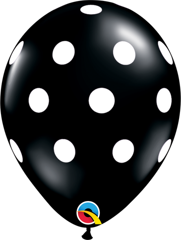 "11"" Round Onyx Black Big Polka Dots #37226 - Pack of 50"