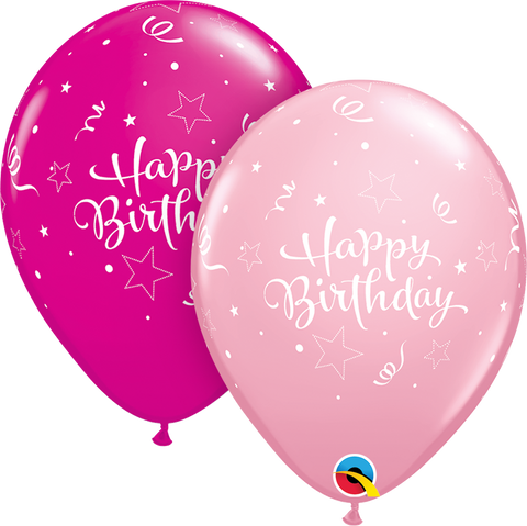 "11"" Round Pink & Wild Berry Birthday Shining Star #37500 - Pack of 50"