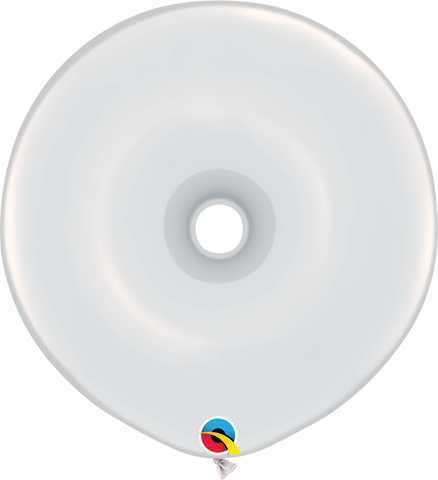 "16"" Donut White Qualatex Plain Latex Donut #37688 - Pack of 25"