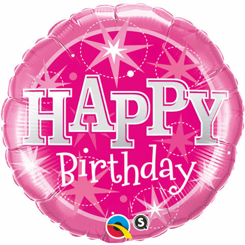 "18"" Round Foil Birthday Pink Sparkle #37913 - Each (Pkgd.)"