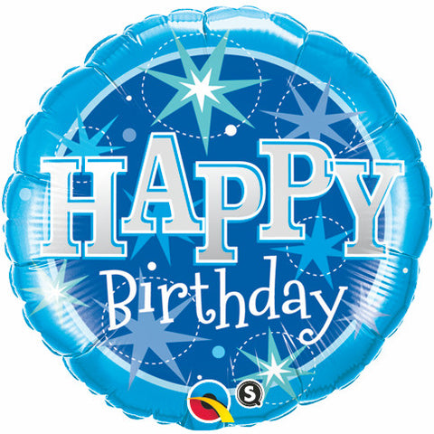 "09"" Round Foil Birthday Blue Sparkle #58413 - Each (Unpkgd.)"