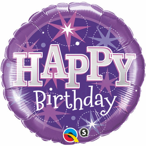 "09"" Round Foil Birthday Purple Sparkle #58405 - Each (Unpkgd.)"