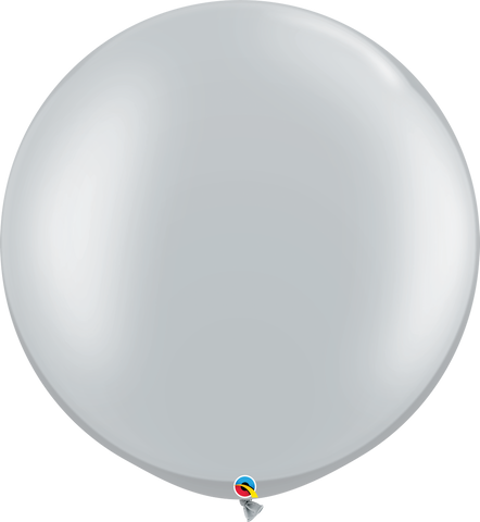 "30"" Round Silver Qualatex Plain Latex #38402 - Pack of 2"