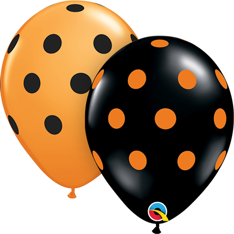"11"" Round Orange & Black Big Polka Dots #38470 - Pack of 50"
