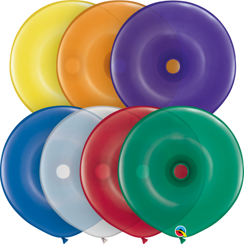 "16"" Donut Jewel Assorted Qualatex Plain Latex Donut #39745 - Pack of 50"