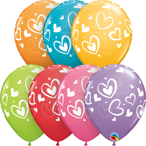 "11"" Round Festive Assorted Mix & Match Hearts #40205 - Pack of 50"