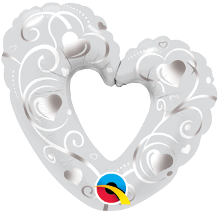 "14"" Shape Foil Hearts & Filigree Pearl White #40352 - Each (Unpkgd.)"