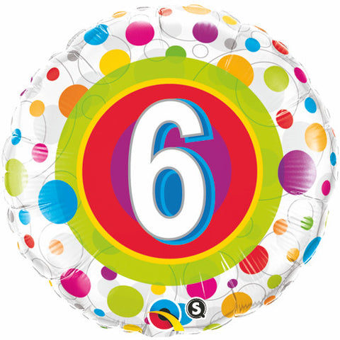 "18"" Round Foil Age 6 Colorful Dots #41104 - Each (Pkgd.)"