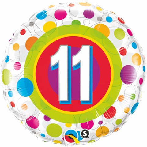 "18"" Round Foil Age 11 Colorful Dots #41124 - Each (Pkgd.)"