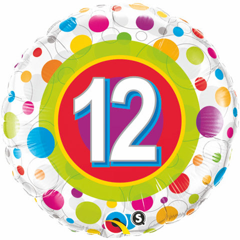 "18"" Round Foil Age 12 Colorful Dots #41128 - Each (Pkgd.)"