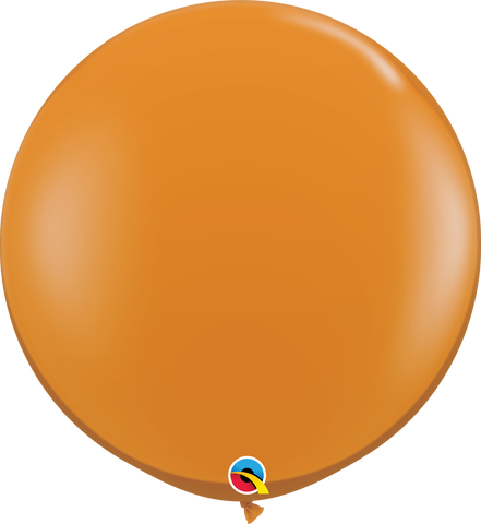 3ft Round Mandarin Orange Qualatex Plain Latex #43263 - Pack of 2