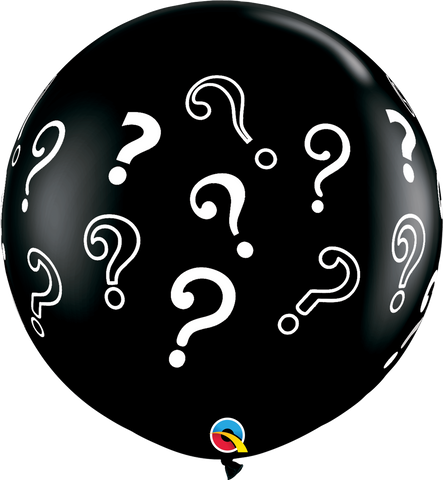 "30"" Round Onyx Black Question Marks #43400 - Pack of 2"