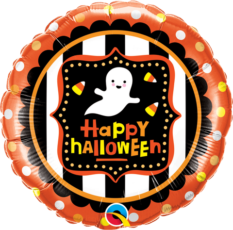 "18"" Round Foil Halloween Ghost & Candy Corn #43467 - Each (Pkgd.)"