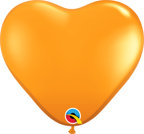 "06"" Heart Mandarin Orange Qualatex Plain Latex #43639 - Pack of 100"