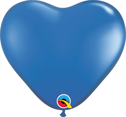 "06"" Heart Sapphire Blue Qualatex Plain Latex #43649 - Pack of 100"
