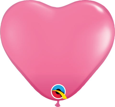 "15"" Heart Rose Qualatex Plain Latex #24020 - Pack of 50"
