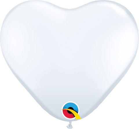 "06"" Heart White Qualatex Plain Latex #43651 - Pack of 100"