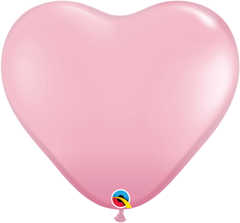 "06"" Heart Pink Qualatex Plain Latex #43642 - Pack of 100"