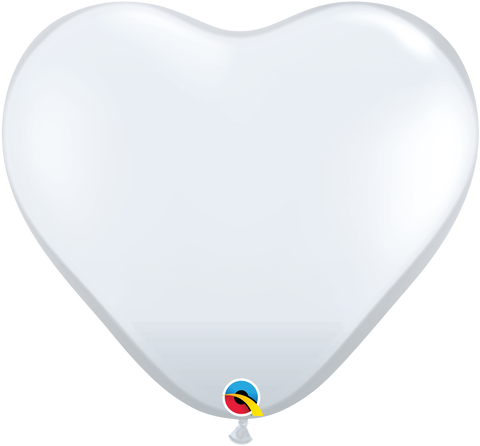 "11"" Heart Diamond Clear Qualatex Plain Latex #43721 - Pack of 100"
