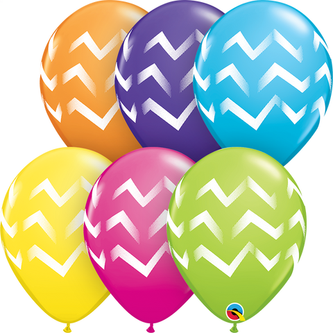 "11"" Round Tropical Assorted Chevron Stripes #44863 - Pack of 50"