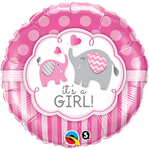 "18"" Round Foil It's a Girl Elephants  #45106 - Each (Pkgd.)"