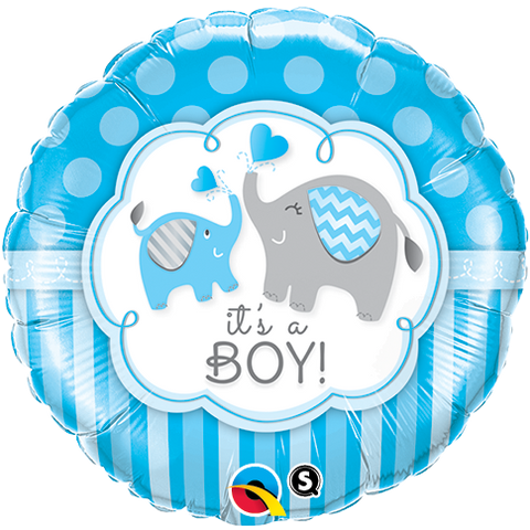 "18"" Round Foil It's A Boy Elephants  #45109 - Each (Pkgd.)"