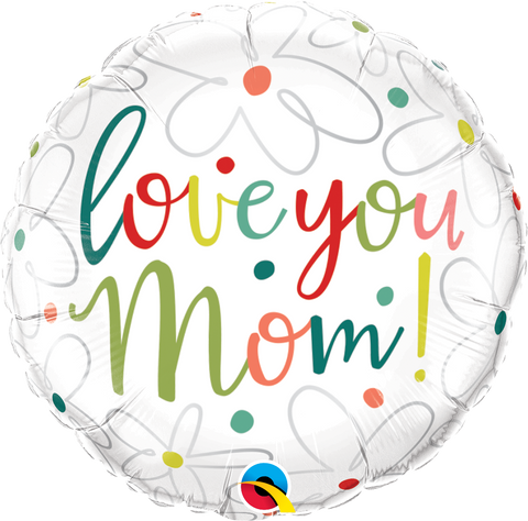 "18"" Round Foil Love You Mom Scribble Flowers #47398 - Each (Pkgd.)"