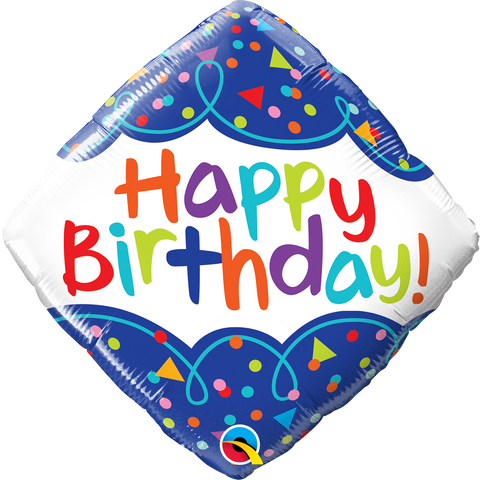"18"" Diamond Foil Bday Scribble Confetti #49093 - Each (Pkgd.)"
