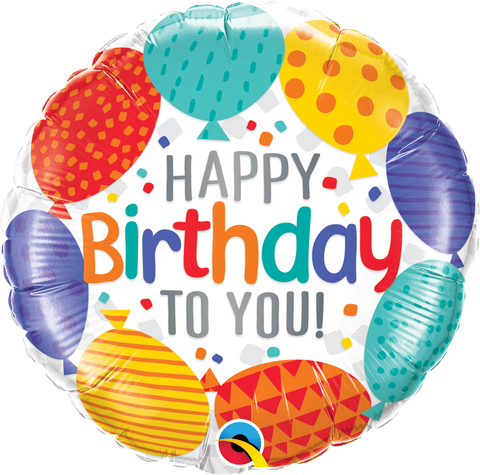 "18"" Round Foil Happy Bday To You Balloons #49141 - Each (Pkgd.)"