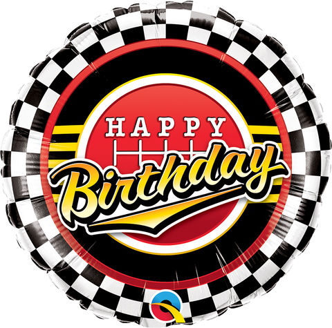 "18"" Round Foil Bday Checkered Pattern #49193 - Each (Pkgd.)"