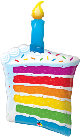 "42"" Shape Foil Rainbow Cake & Candle #49379  - Each (SW Pkgd.)"