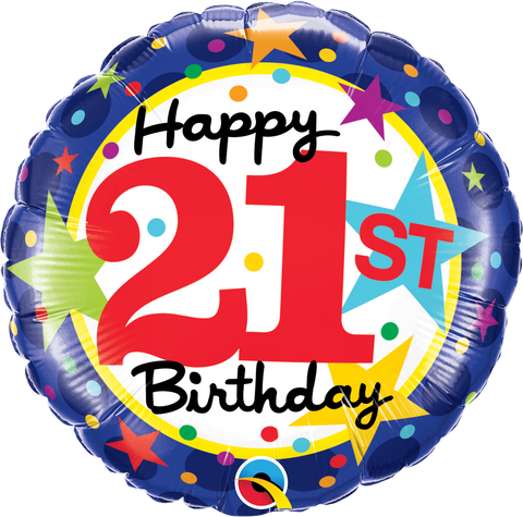 "18"" Round Foil 21st Bday Stars #49616 - Each (Pkgd.)"