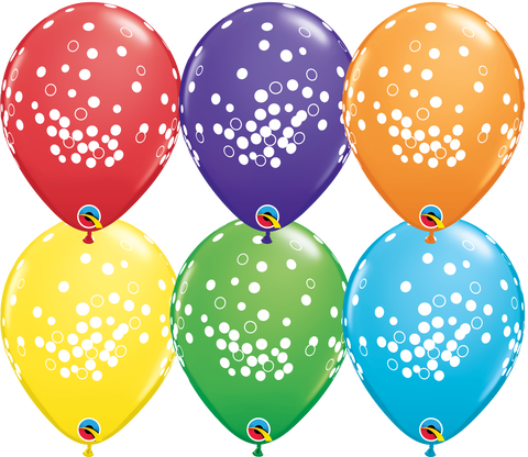 "11"" Round Bright Rainbow Assorted Confetti Dots #49684 - Pack of 50"